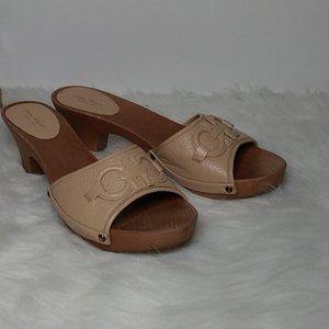 Salvatore Ferragamo Wood/Leather Clog Sz 8